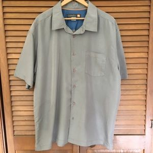 Quicksilver olive/tan ss Waterman collection shirt